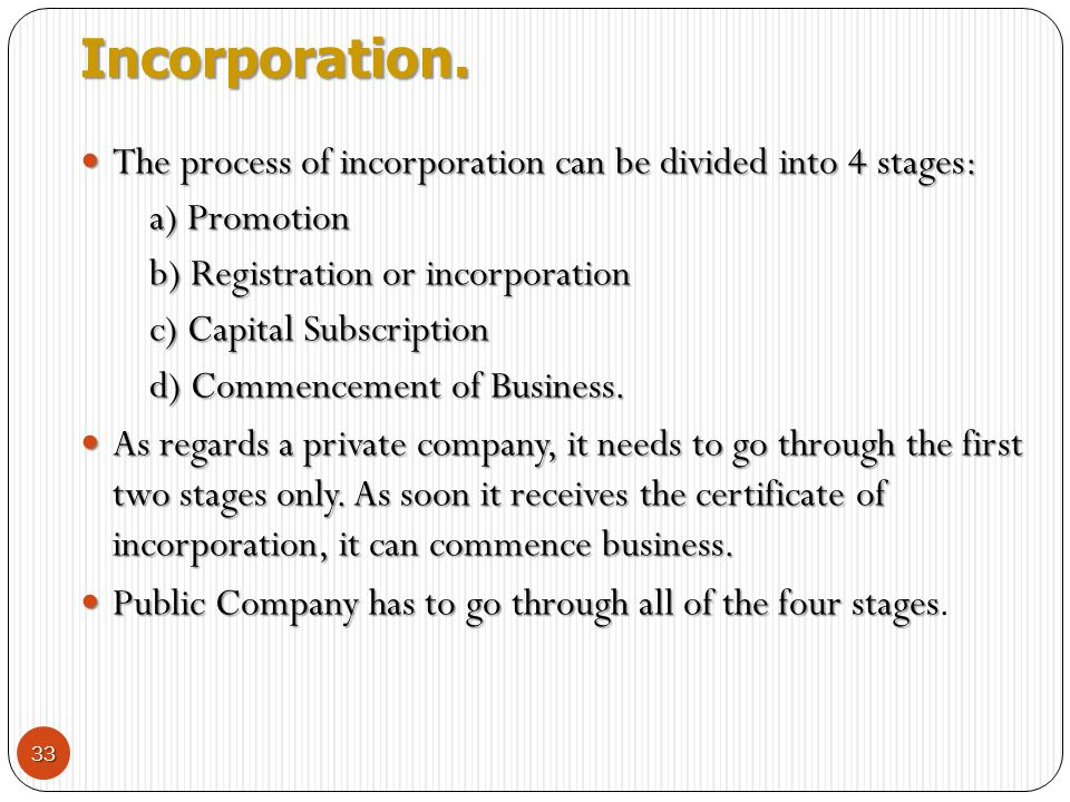 Incorporation. The process of incorporation can be divided into 4 stages: a) Promotion. b) Registration or incorporation.