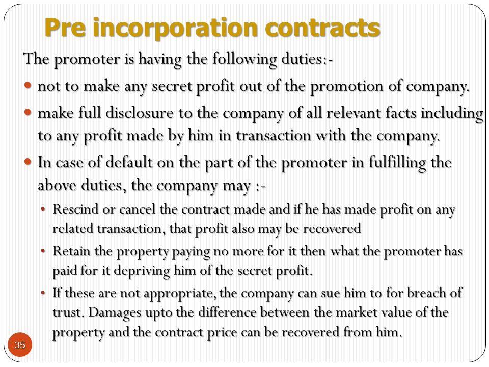 Pre incorporation contracts