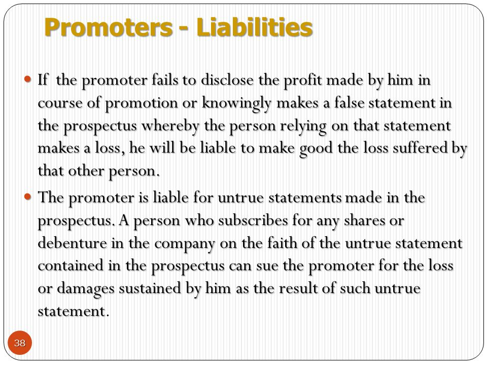 Promoters - Liabilities