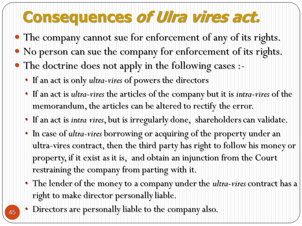 Consequences of Ulra vires act.