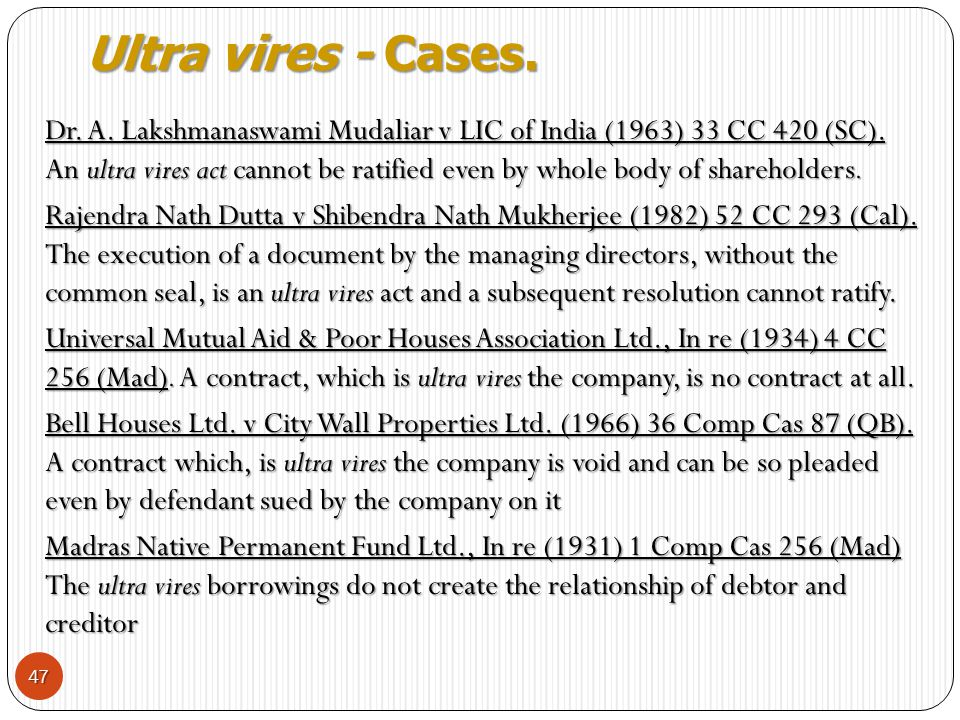 Ultra vires - Cases.