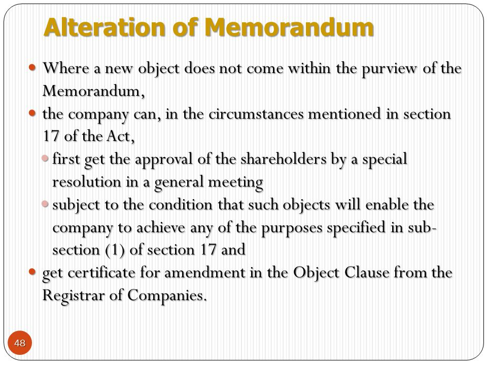 Alteration of Memorandum