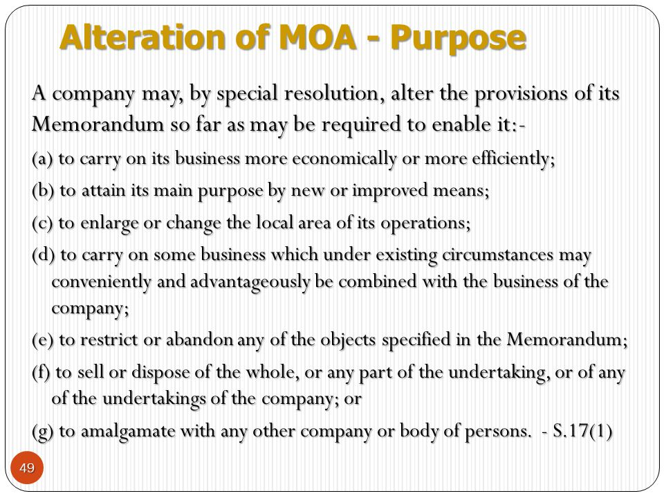 Alteration of MOA - Purpose