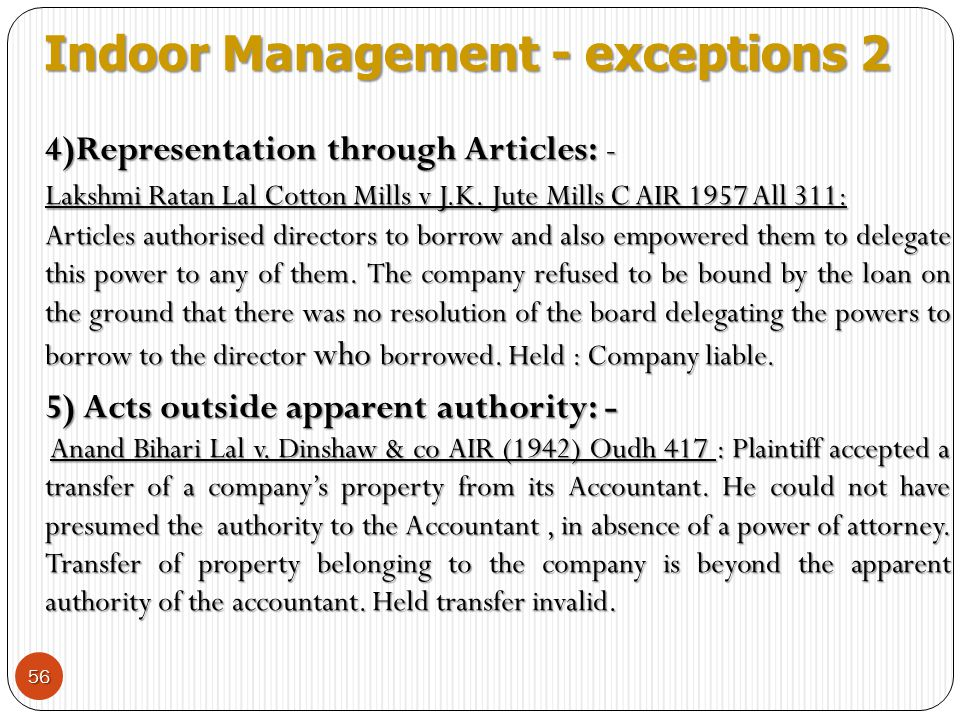 Indoor Management - exceptions 2