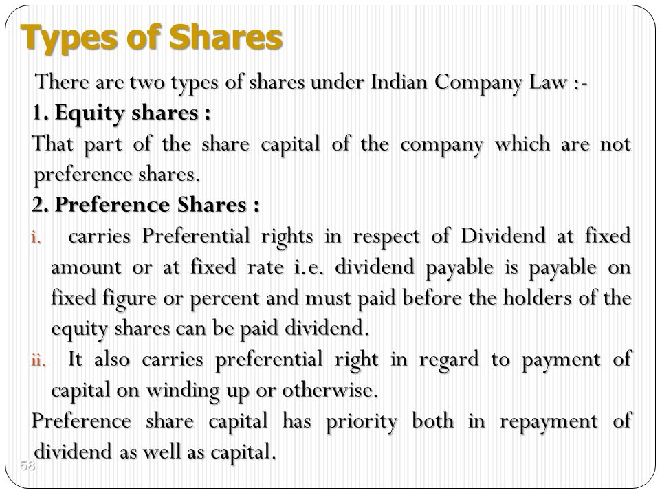 Types of Shares 1. Equity shares :