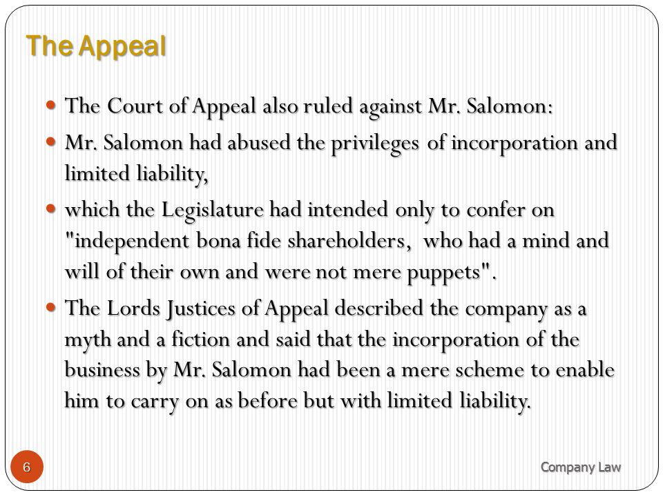 The Appeal The Court of Appeal also ruled against Mr. Salomon: