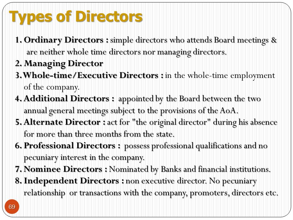 Types of Directors 1. Ordinary Directors : simple directors who attends Board meetings & are neither whole time directors nor managing directors.