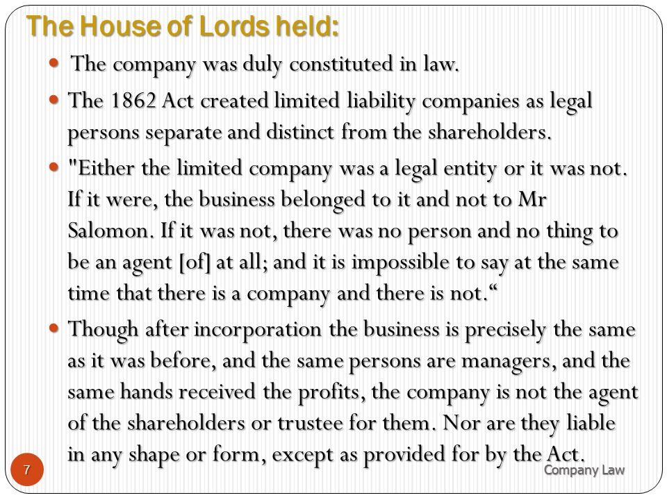 The House of Lords held: