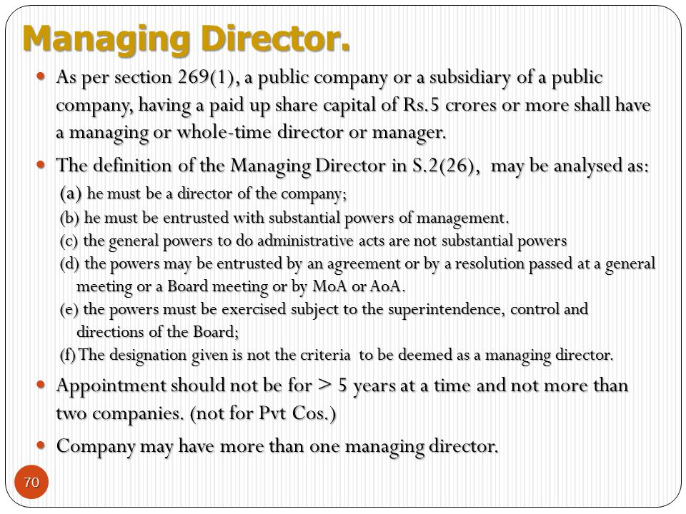 Managing Director.