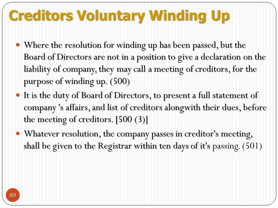 Creditors Voluntary Winding Up