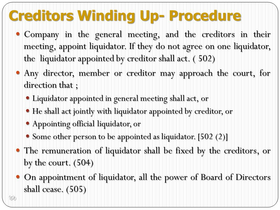 Creditors Winding Up- Procedure