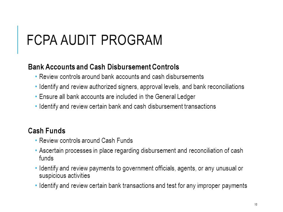 FCPA Audit Program Bank Accounts and Cash Disbursement Controls