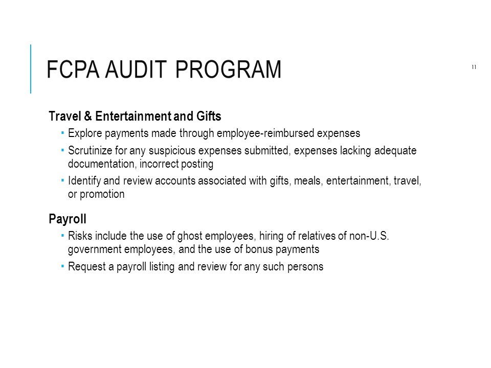 FCPA Audit Program Travel & Entertainment and Gifts Payroll