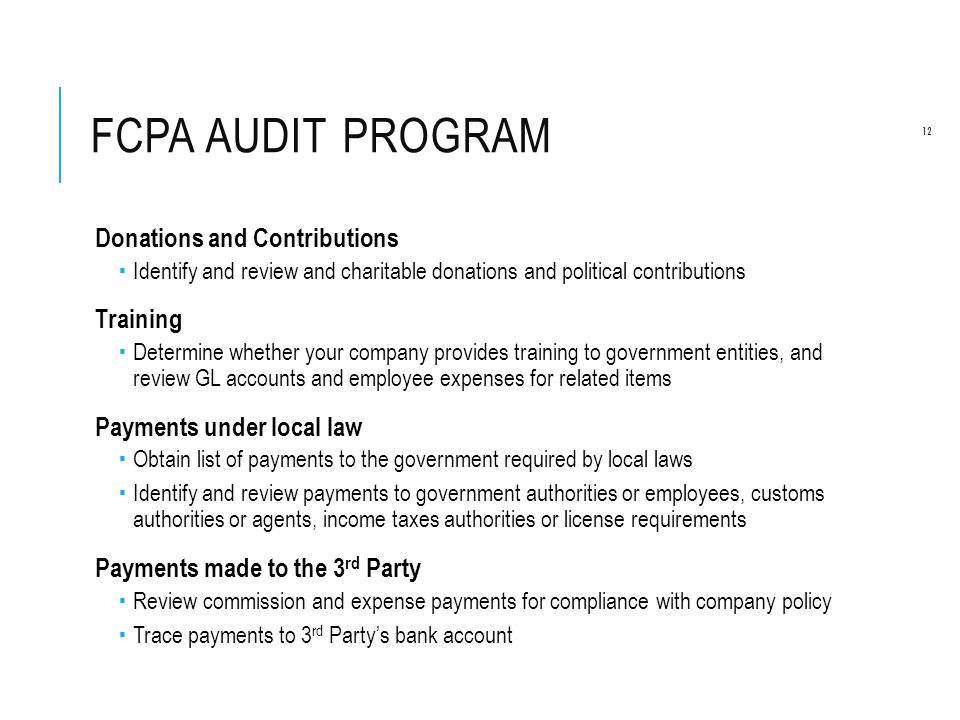 FCPA Audit Program Donations and Contributions Training