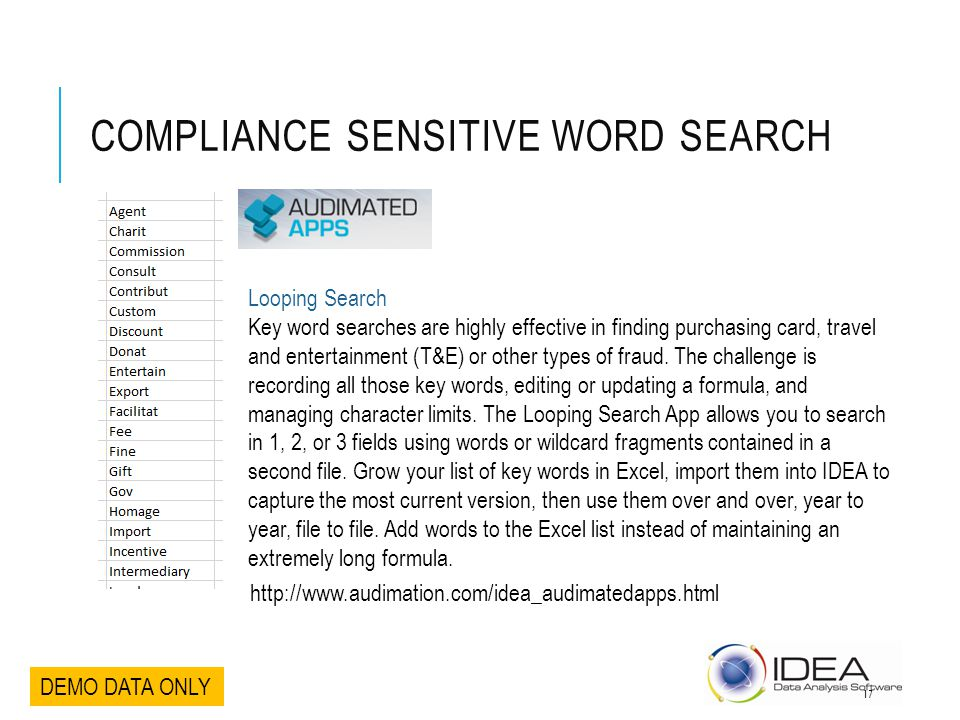 Compliance Sensitive Word Search