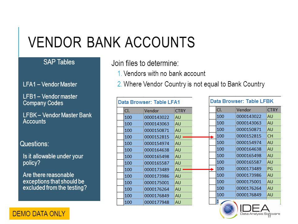Vendor Bank Accounts Join files to determine: SAP Tables