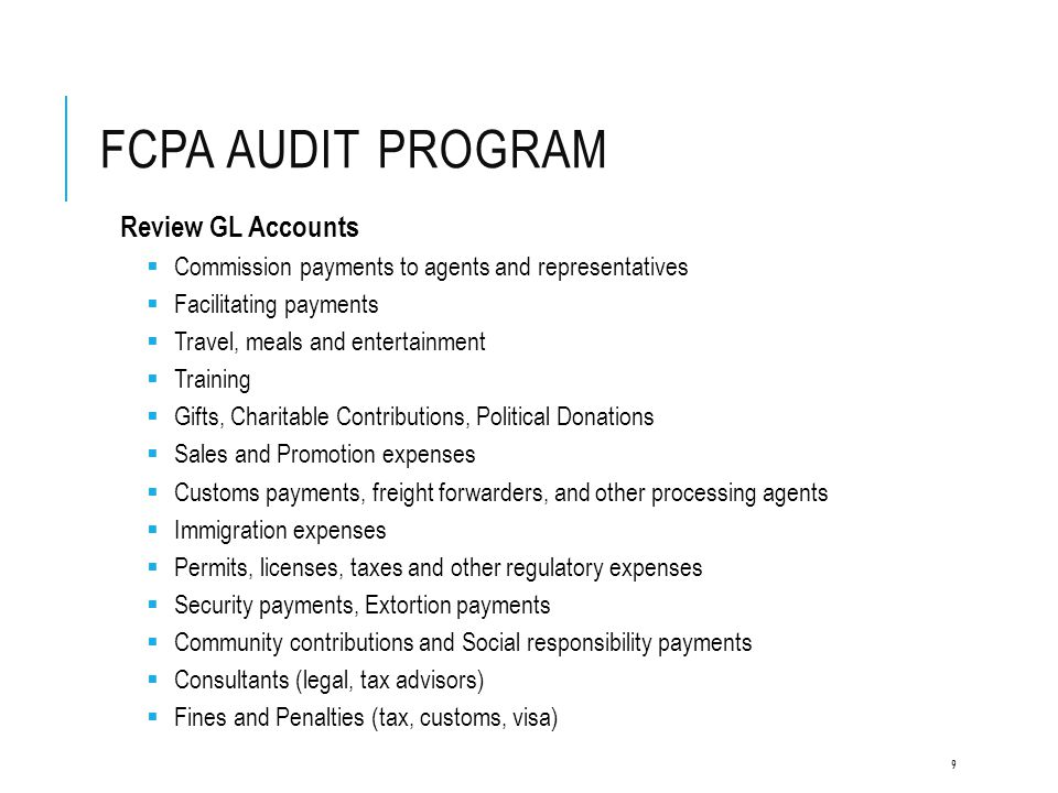 FCPA Audit program Review GL Accounts