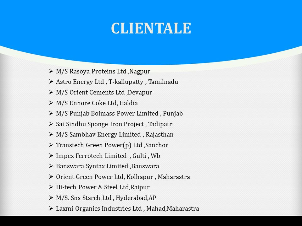 CLIENTALE M/S Rasoya Proteins Ltd ,Nagpur