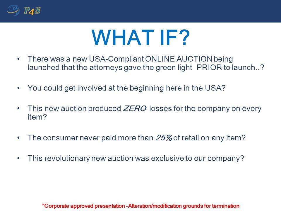 WHAT IF There was a new USA-Compliant ONLINE AUCTION being launched that the attorneys gave the green light PRIOR to launch..