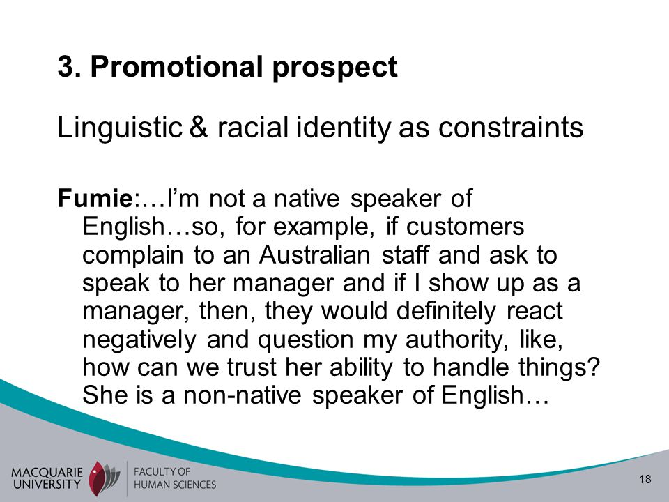 Linguistic & racial identity as constraints