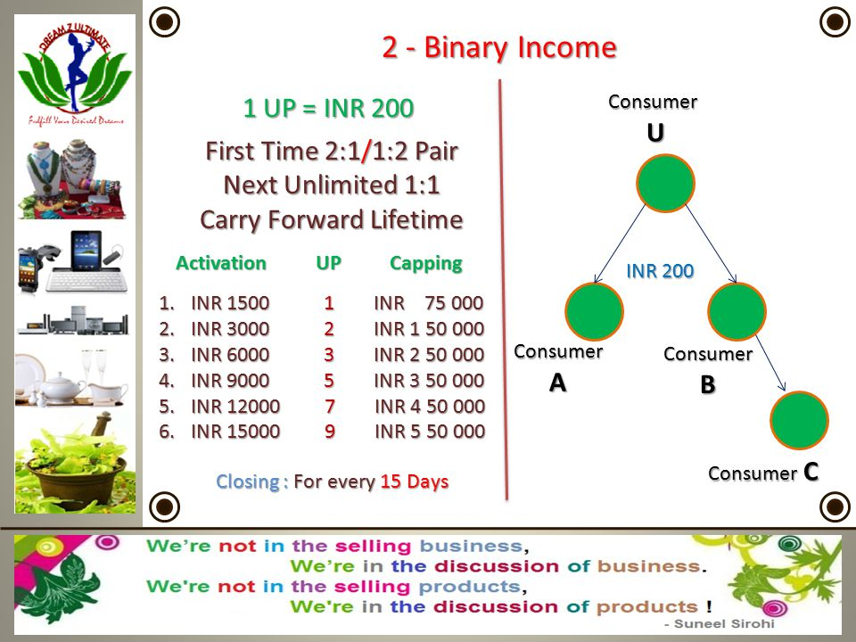 2 - Binary Income 1 UP = INR 200 U First Time 2:1/1:2 Pair