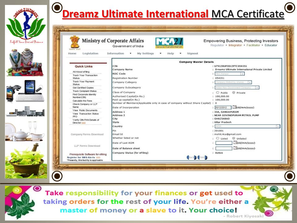 Dreamz Ultimate International MCA Certificate