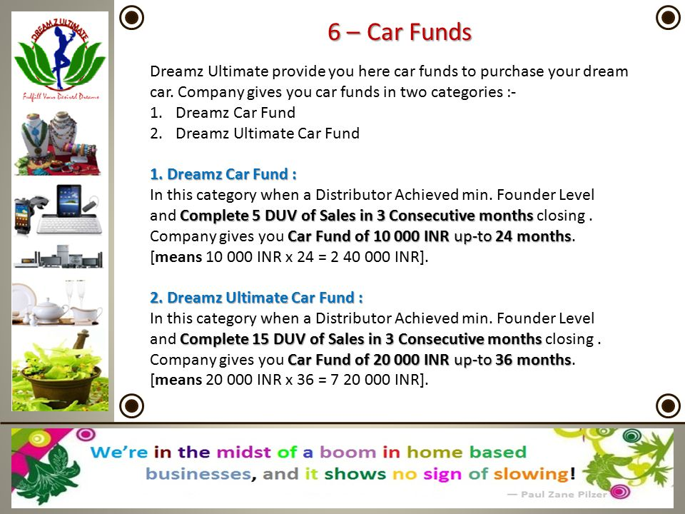 6 – Car Funds Dreamz Ultimate provide you here car funds to purchase your dream car. Company gives you car funds in two categories :-