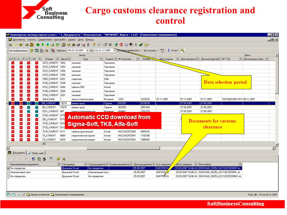 Cargo customs clearance registration and control