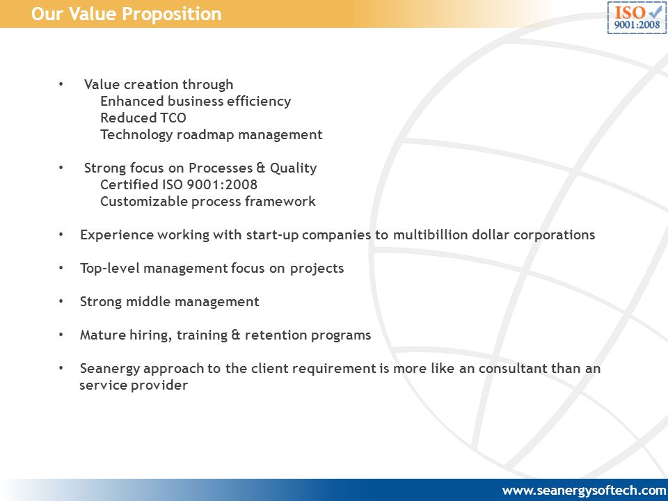 Our Value Proposition Value creation through