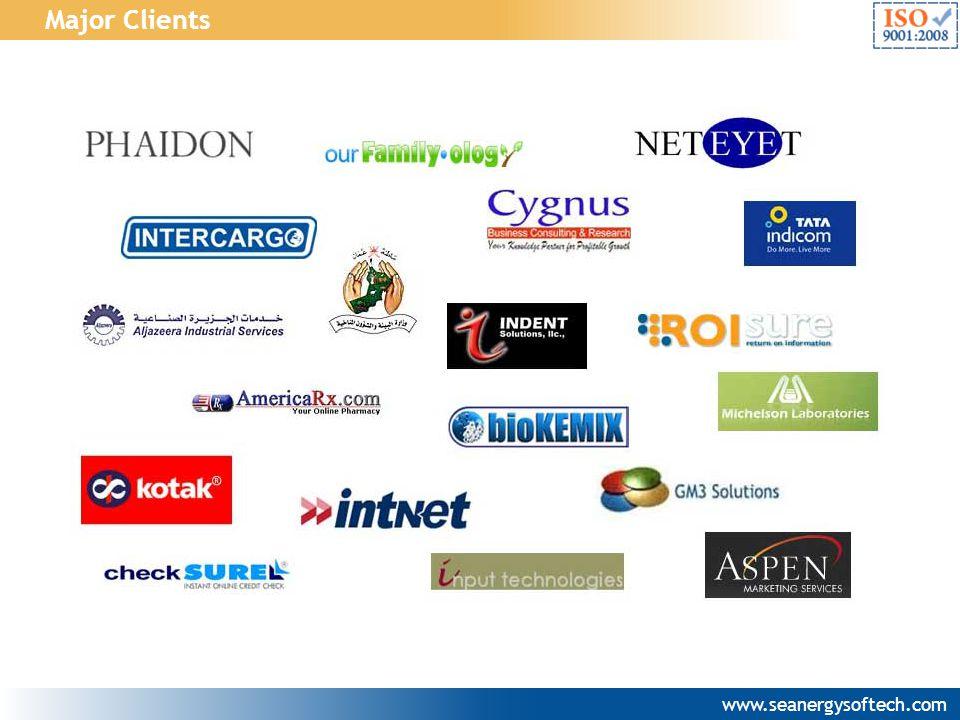Major Clients www.seanergysoftech.com
