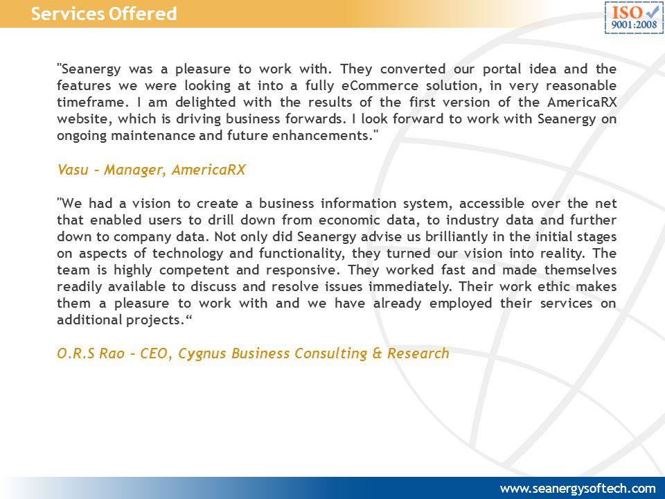 Services Offered Vasu – Manager, AmericaRX