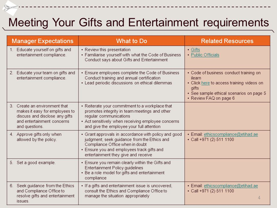 Meeting Your Gifts and Entertainment requirements