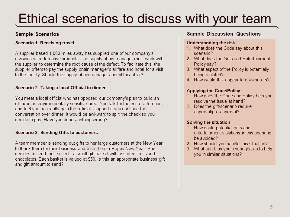 Ethical scenarios to discuss with your team