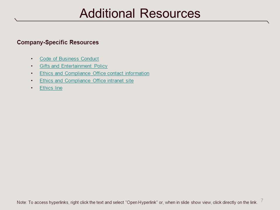 Additional Resources Company-Specific Resources