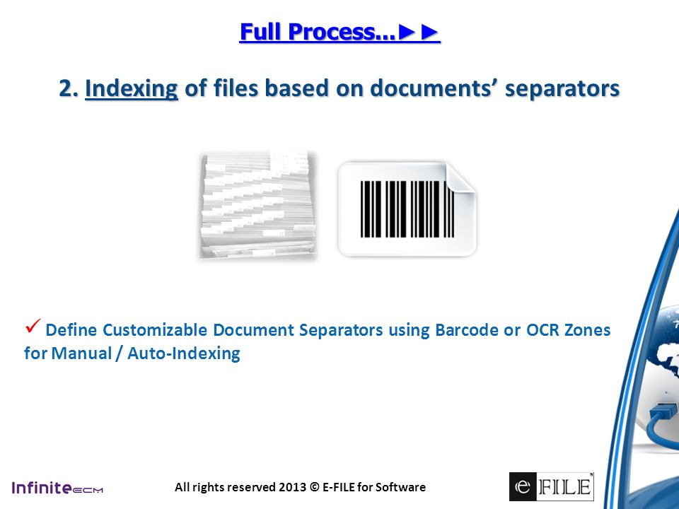 2. Indexing of files based on documents' separators