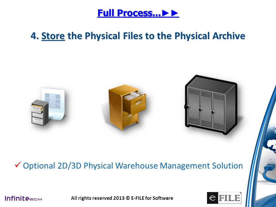 4. Store the Physical Files to the Physical Archive