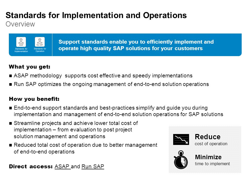 Standards for Implementation and Operations Overview