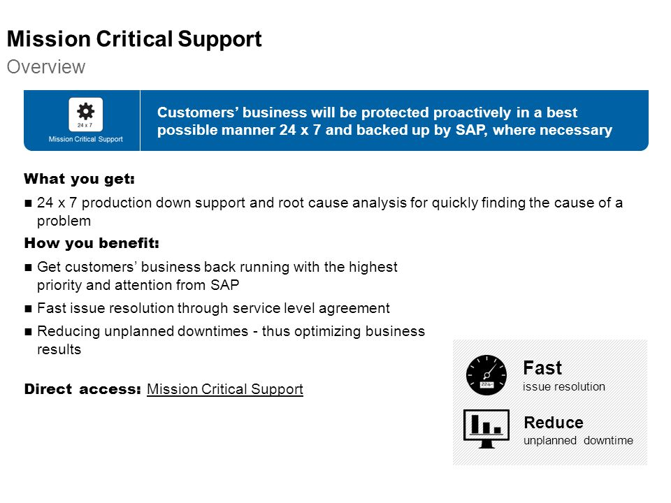 Mission Critical Support Overview