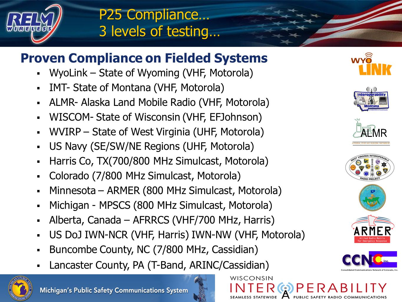 P25 Compliance… 3 levels of testing…
