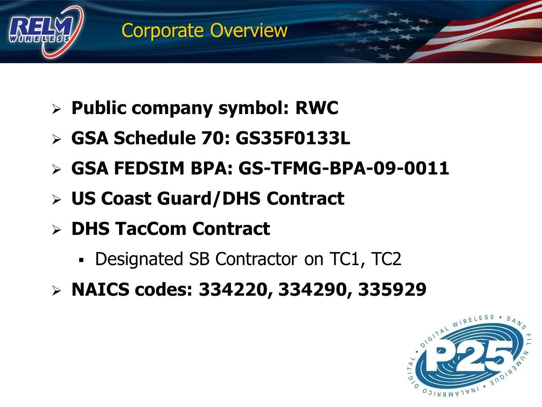 Corporate Overview Public company symbol: RWC