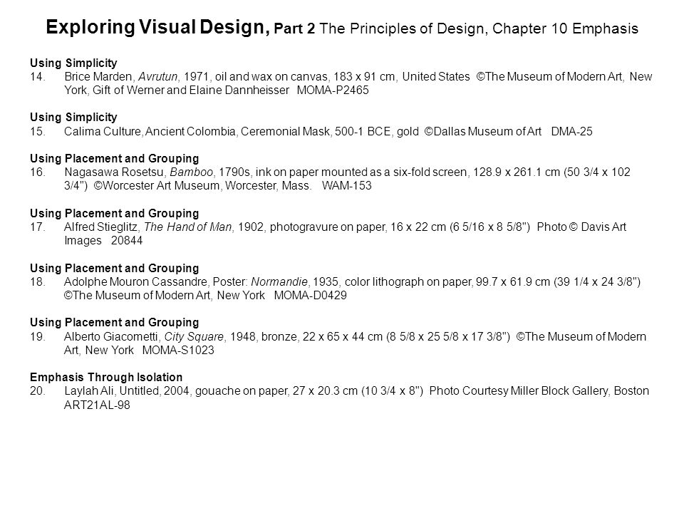 Exploring Visual Design, Part 2 The Principles of Design, Chapter 10 Emphasis