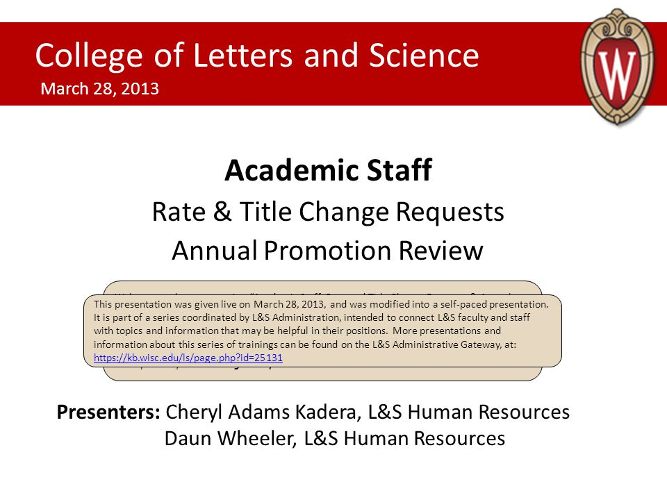 Academic Staff Rate & Title Change Requests Annual Promotion Review