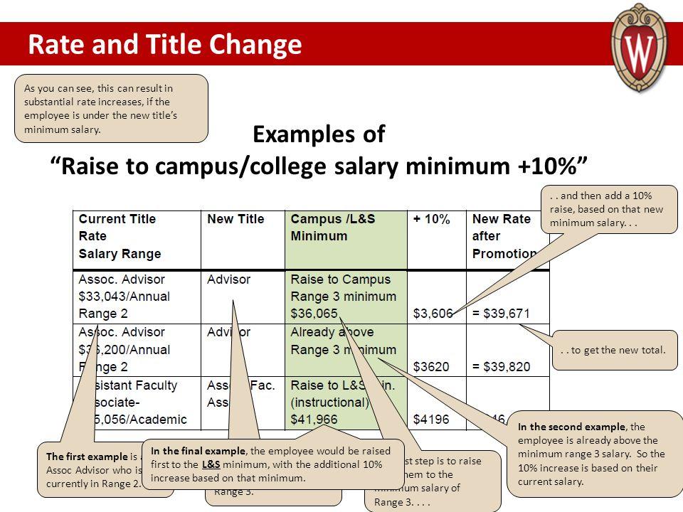 Raise to campus/college salary minimum +10%