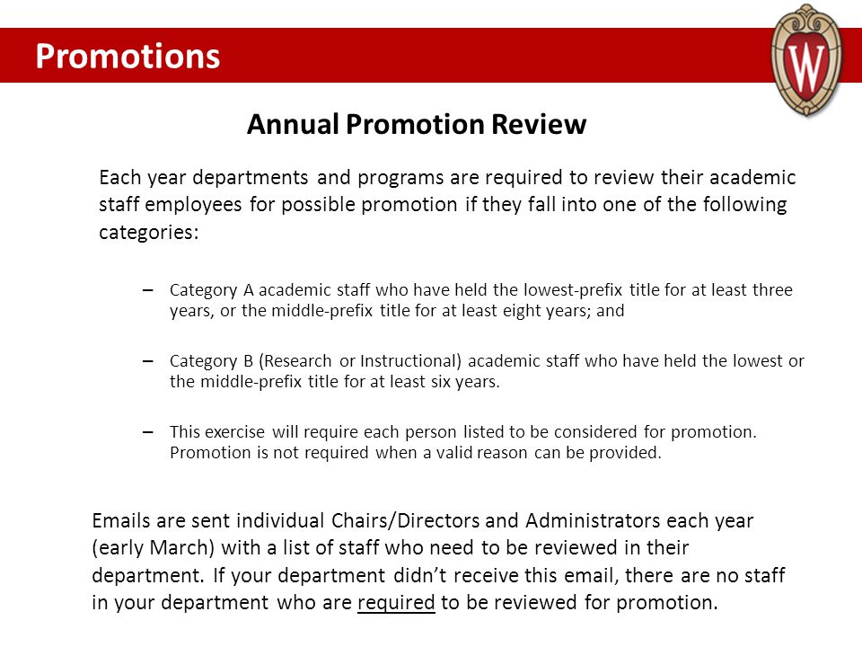 Annual Promotion Review