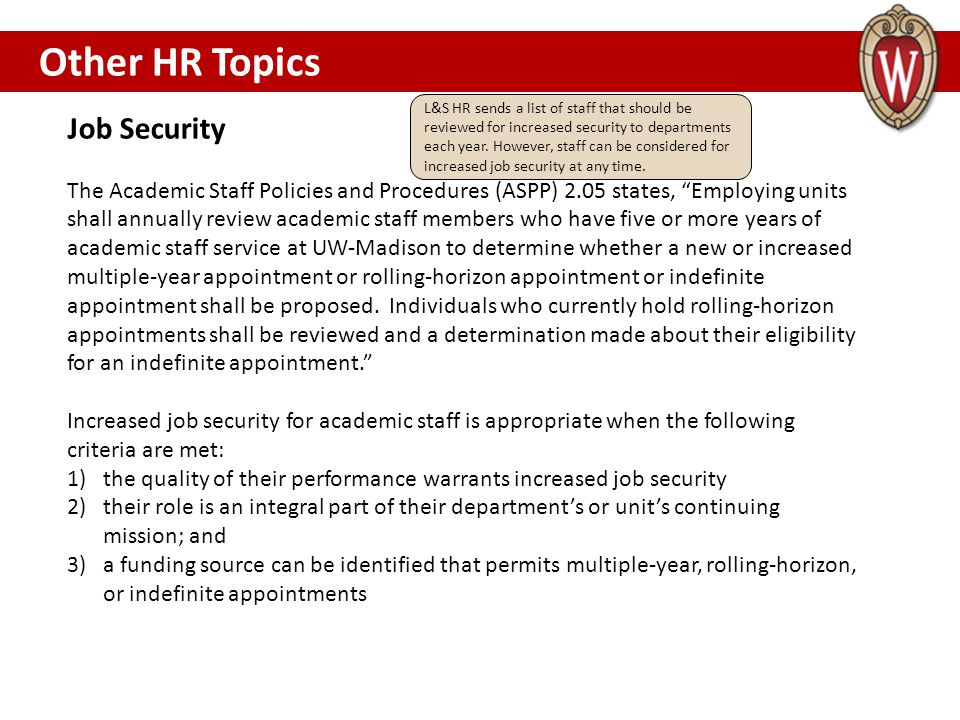 Other HR Topics Job Security OTHER HR TOPICS………