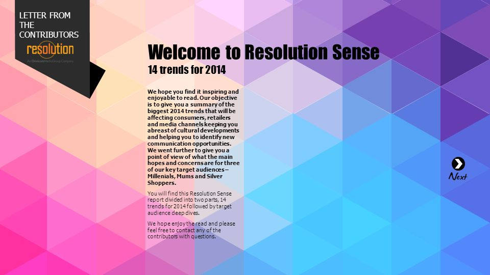Welcome to Resolution Sense 14 trends for 2014