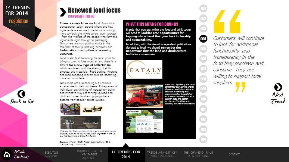 Renewed food focus 14 TRENDS FOR 2014