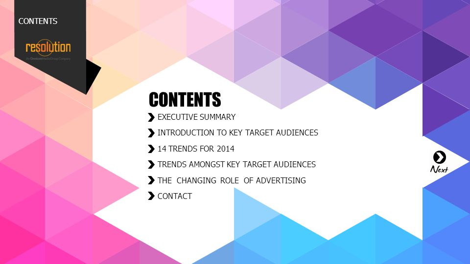 CONTENTS 001. 002. 003. 004. 007. 011. 012. 013. 014. CONTENTS. EXECUTIVE SUMMARY. INTRODUCTION TO KEY TARGET AUDIENCES.
