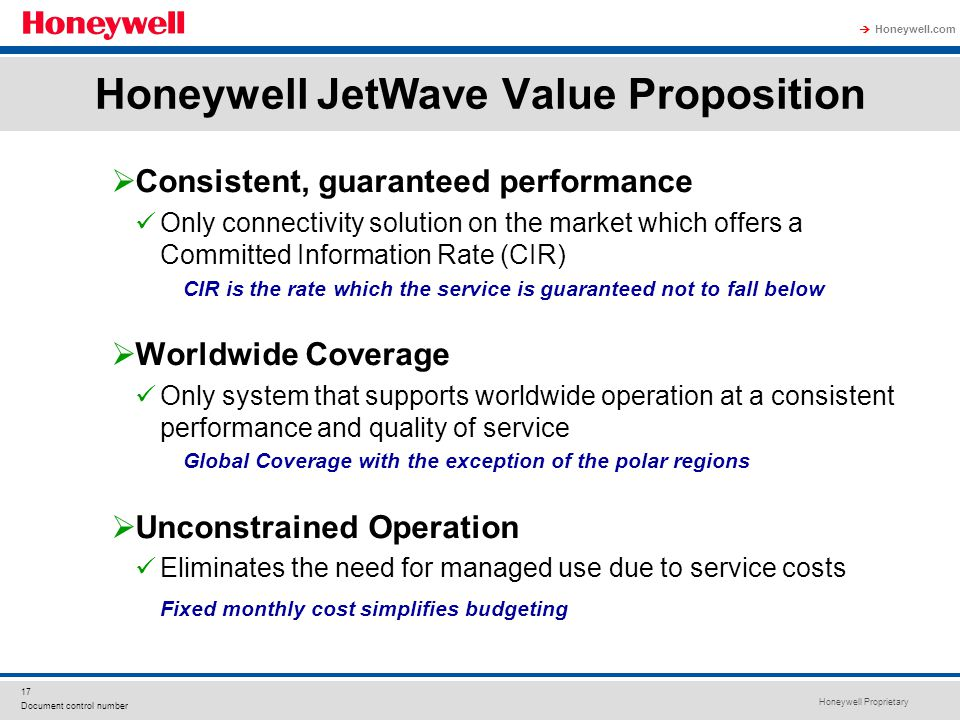 Honeywell JetWave Value Proposition