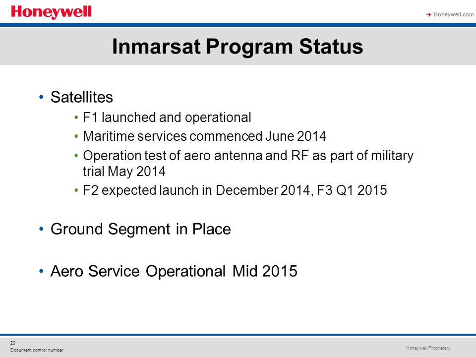 Inmarsat Program Status